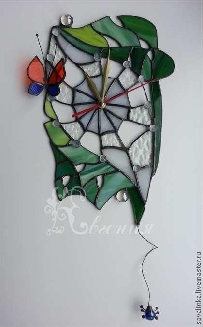 """Часы """" Домик паучка"""" - часы настенные из стекла,часы паутинка,часы с паучком"""