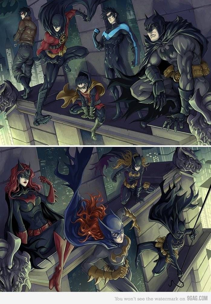 Pure awesomeness. From left to right: Jason Todd(Red Hood), Tim Drake(now Wayne, Red Robin), Damian Wayne(Robin), Dick Grayson(Nightwing), Bruce Wayne(Batman), Kate Kane(Batwoman), Barbara Gordon(Batgirl), Stephine Brown(Batgirl), ans lastly, Cassandria Cain(Batgirl)