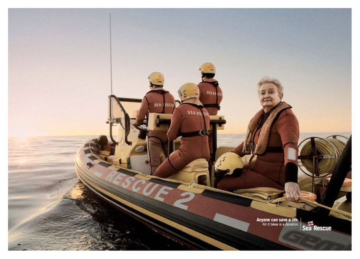 """#AdoftheWeek 8 May 2014: Rescue me. Ogilvy Cape Town's print campaign for NSRI: """"Anyone can save a life"""". Grandmother."""