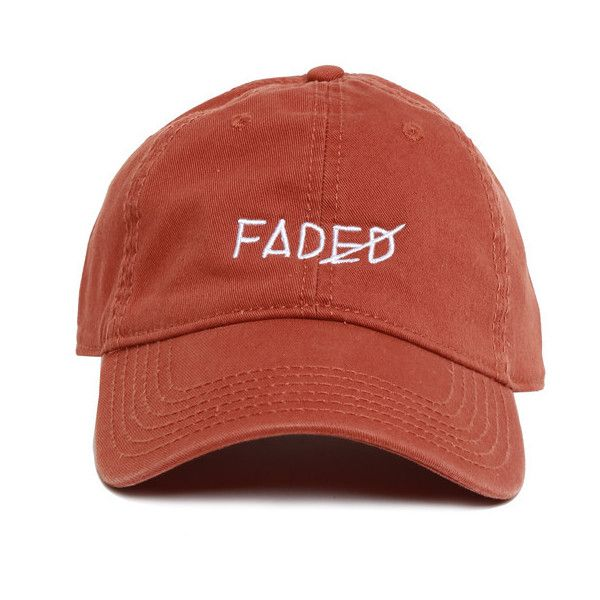 Fall Tone Faded Strapback featuring polyvore, women's fashion, accessories, hats, caps hats, visor cap, six panel hat, cotton hat and sun visor hat
