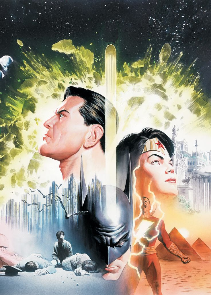 THE HISTORY OF THE DC UNIVERSE by Alex Ross. More Batman-related images at these Pinterest links: http://pinterest.com/jefffaria/pop-cult-batmania-1-3/ - http://pinterest.com/jefffaria/pop-cult-batmania-2-3/ - http://pinterest.com/jefffaria/pop-cult-batmania-3-3/