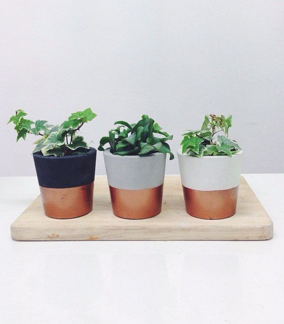 Copper dipped small cement pots / planters or candle by sortlondon