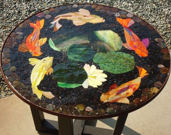 Made to order 30 koi mosaic table top patio bistro for Koi pool table