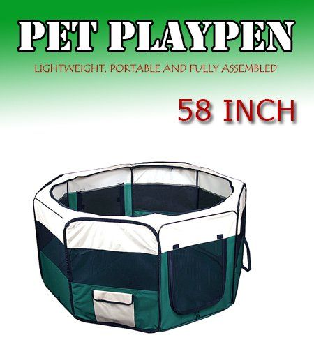 "New 58"" 2X-Large Dog Pet Cat Playpen Kennel Exercise Pen Crate Fence - Green *** Find out more at the image link. #DogCratesHousesPens"