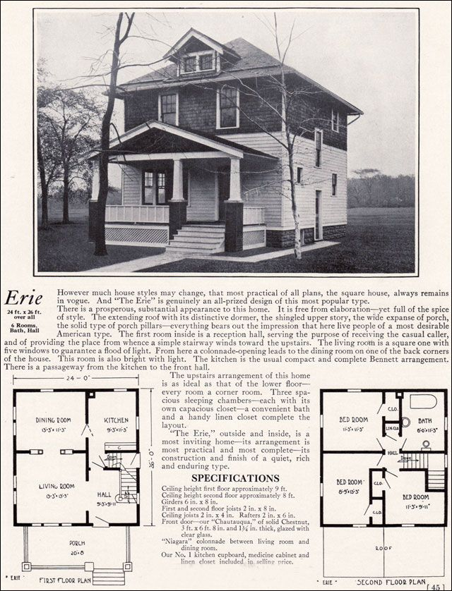 1922 bennett homes erie 1909 pinterest for 1900 house plans