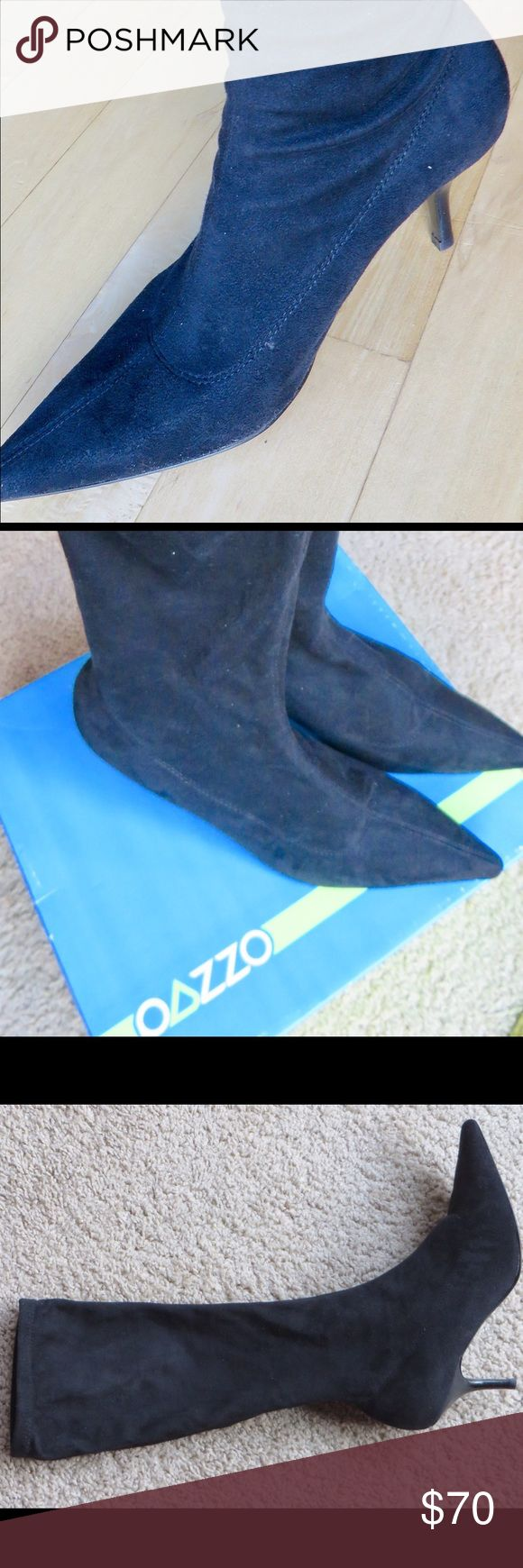 Black pull on ultra suede boots Black fabric ultra suede size 10  pull on boots.super soft and elegant looking. Pull on like a knee sock, 3 inch heel, top of boot comes below knee. New in box  but no tag , pics don't do justice,these are fabulous! pazzo Shoes Heeled Boots