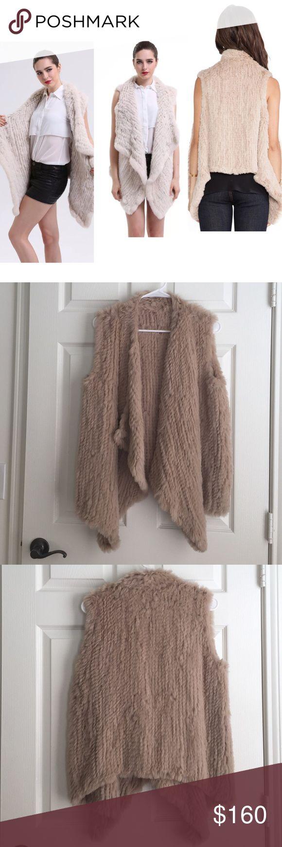 Rabbit fur vest in beige Worn once,super soft,❌NO TRADE‼️ handmade Jackets & Coats Vests