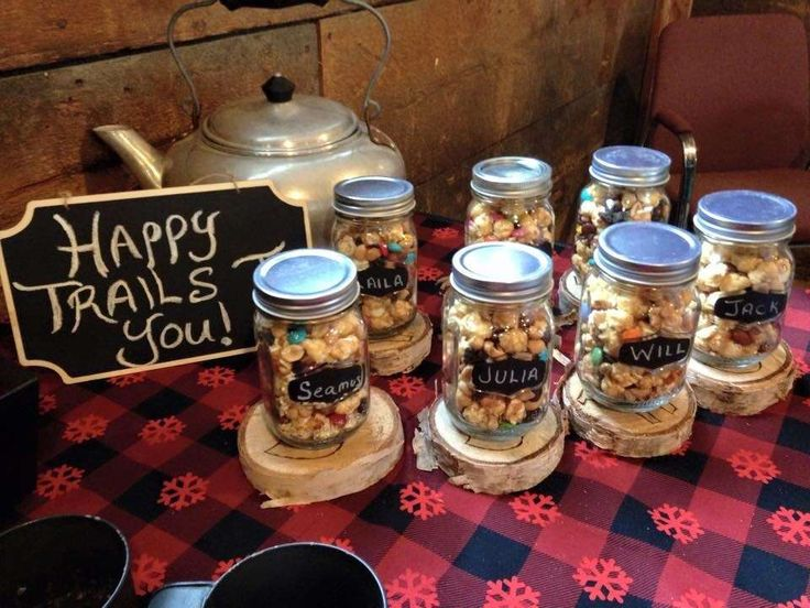 Popcorn favors at a lumberjack birthday party! See more party ideas at CatchMyParty.com!