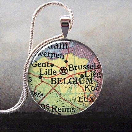 Belgien Karte Anhänger Belgien-Karte Schmuck von thependantemporium