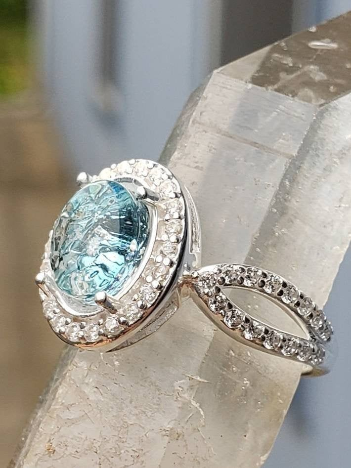 Engagement Style Ashes Infused Glass Cremation Ring 22 Cubic Etsy Cremation Ring Ashes Jewelry Cremation Jewelry Ring