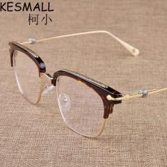 [ 26% OFF ] Vintage Optical Glasses Frame Women Fashion Glasses Frames Oculos De Grau Brand Design Half Rim Mens Glasses Frames Yj257