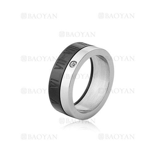 anillo con numero romano en acero de negro-SSRGG802002