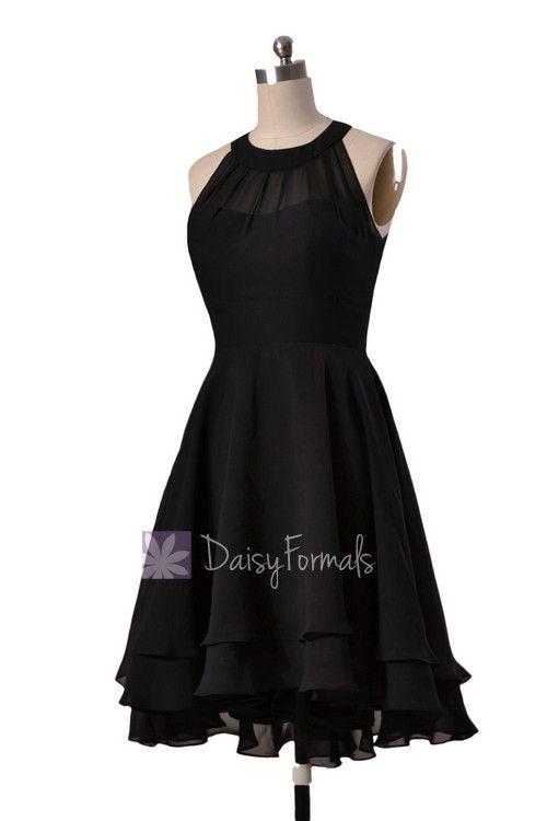 Illusion neckline High Low Bridesmaid Dress Black Chiffon Formal Dress W/Illusion Neckline(CST2225)