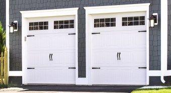 White steel garage doors from Wayne Dalton
