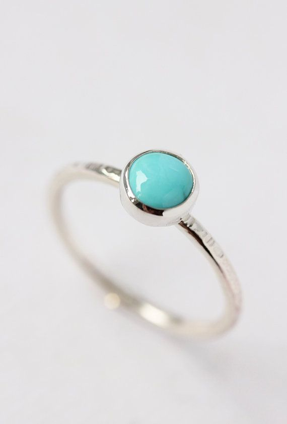 Turquoise ring, recycled sterling silver, december birthstone, birthstone jewelry, stacking ring, gifts for her
