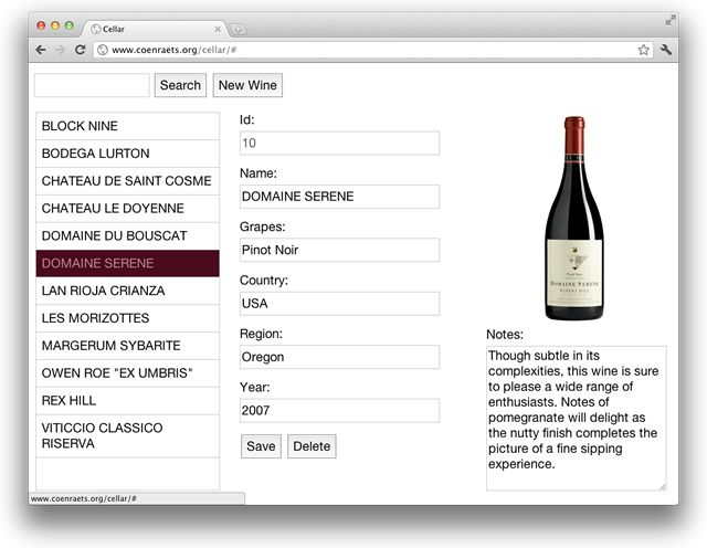 Wine Cellar (CRUD) app written with Angular.js, and a RESTful php API using Slim.