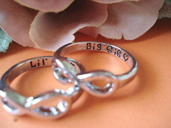 These Silver Big Sis and Lil Sis rings are very Elegant and charming! Perfect gift for you and your sisters and daughters * I ship in 1- 3 days