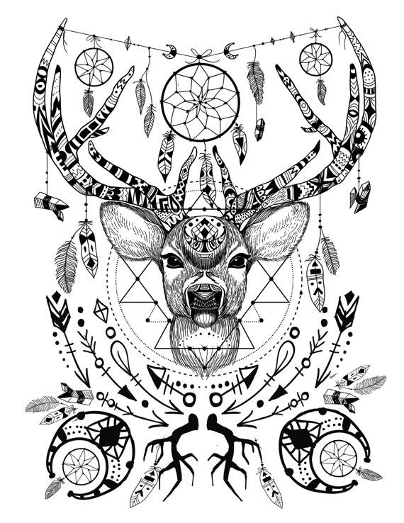 Wild and free spirit animals printable color page and crystal grid adult coloring books