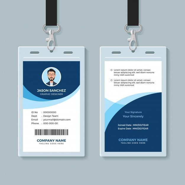 Simple And Clean Employee Id Card Design Template Premium Vector Employee Id Card Id Card Template Employees Card