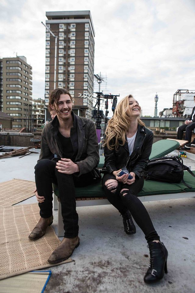 "Natalie Dormer and Hozier behind the scenes of his music video, ""Someone New"""