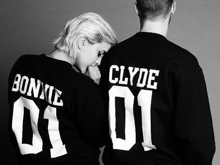 """Couple Sweaters set """"Bonnie 01 and Clyde 01"""" set of 2 couple Sweaters Bonnie Clyde Sweater Custom with Custom Numbers"""