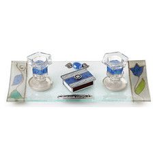 Shabbat Candlestick Set with Bold Blue Accents and Matchbox