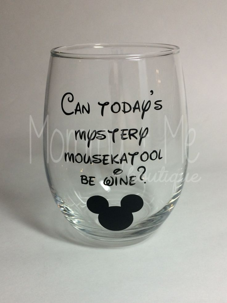 Can Today's Mystery Mousekatool Be Wine? Stemless Wine Glass - Mickey Mouse Wine Glass by MommyPlusMeBoutique on Etsy