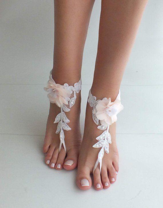 d1a493916e91 Beach wedding barefoot sandals blush flowers wedding shoes beach ...