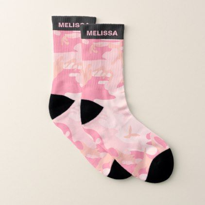 Cute Girly Pink Camouflage Personalized Name Socks - girly gift gifts ideas cyo diy special unique
