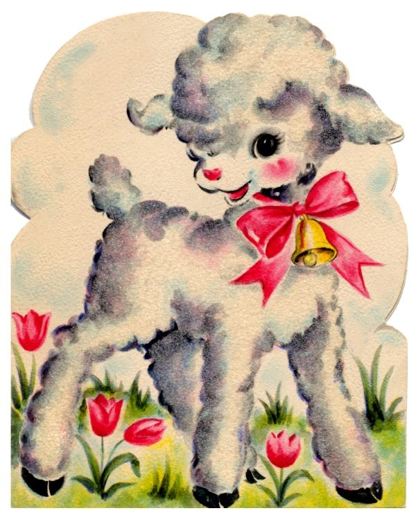 vintage easter card - cute little lamb                                                                                                                                                      More