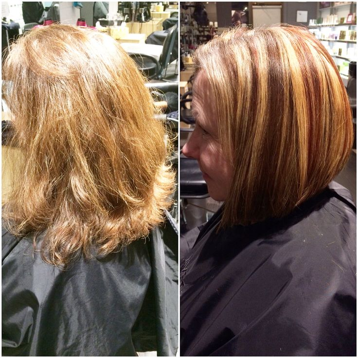 Hair by Kendra. Triangular bob haircut. Blonde, bright red, and caramel highlights. To book an appointment with Kendra, call (780) 467-3288 or visit our website at www.sylviaco.com. Located in Sherwood Park, Alberta, Canada.