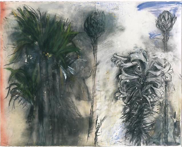 Jim Dine (American, b. 1935), The Issue of Spring, 2004. Charcoal, pastel, gesso and acrylic on paper, 47 ½ x 60 in.
