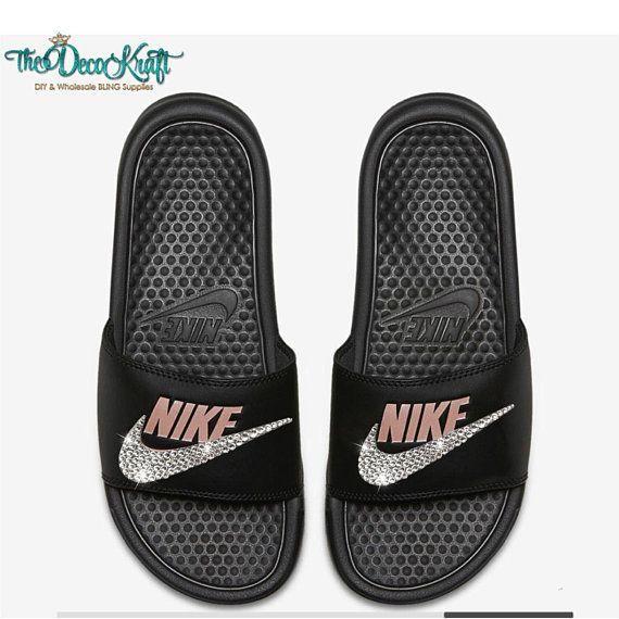 new product d438e f0615 Nike Benassi Slides Sandals Black Rose Gold Custom Bling Clear Crystal  Swarovski - Nike Benassi