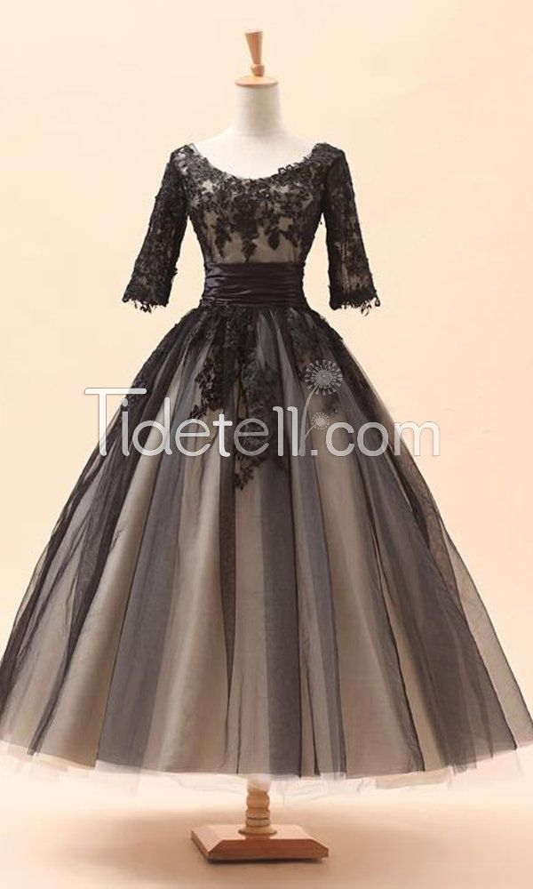 Ball Gown Scoop Tea Length Tulle 1/2 Sleeved Prom Dresses