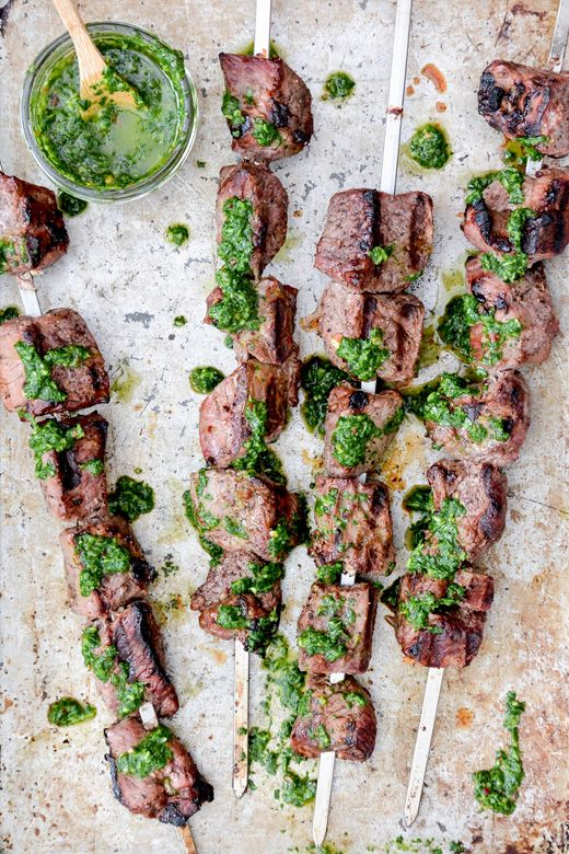Beer-Marinated Lamb Skewers with Chimichurri Sauce | www.floatingkitchen.net