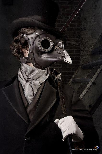 Black Leather Bird Steam Punk Mask