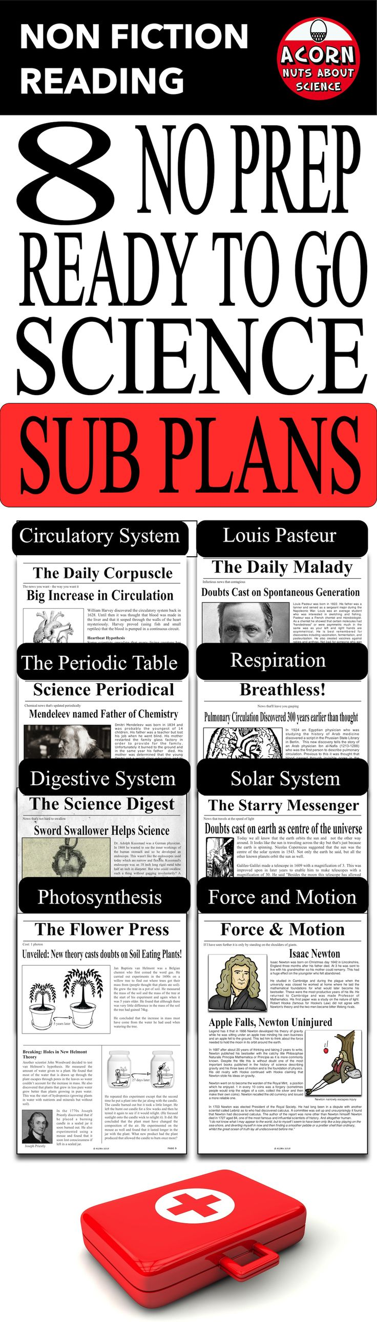8 unique secondary science sub plans. This is a great way to align literacy and science. Each plan has a 2 page newspaper with accompanying worksheets.