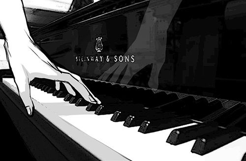 black and white, monochrome, and piano image