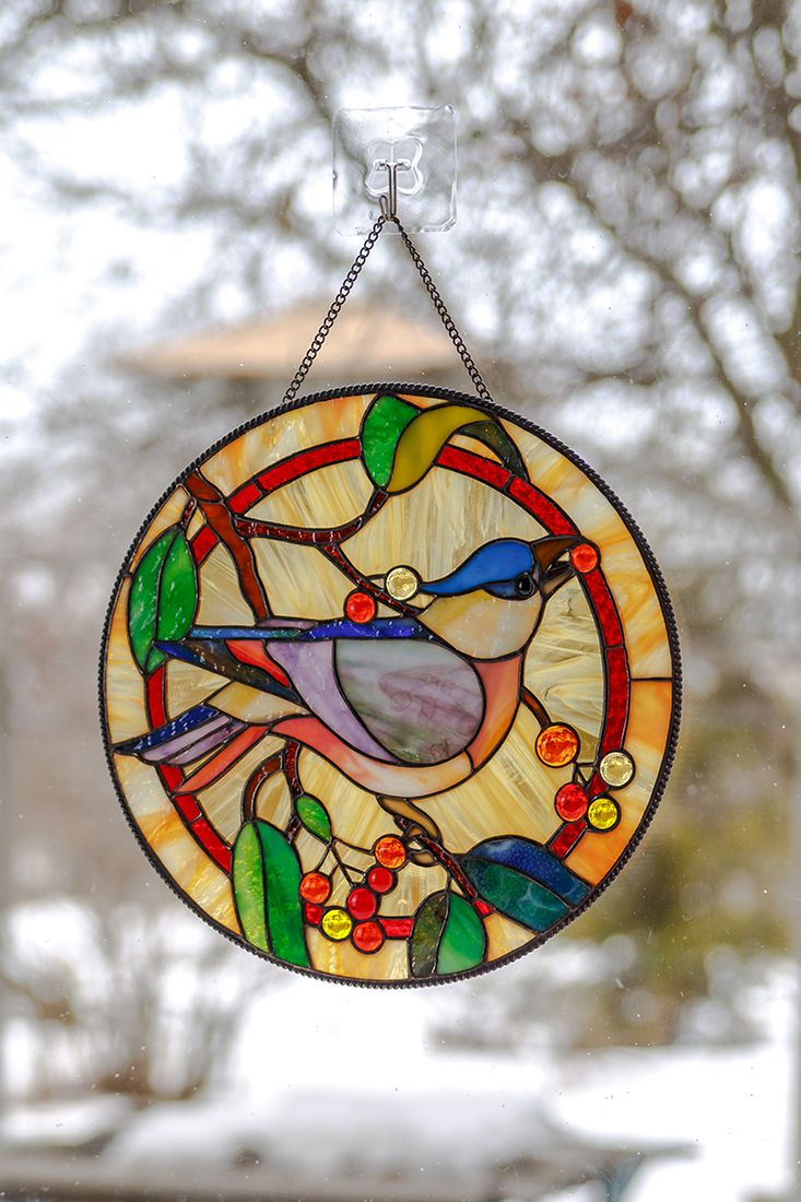 Blue Jay Bird Stained Glass Panel Custom Stained Glass Window