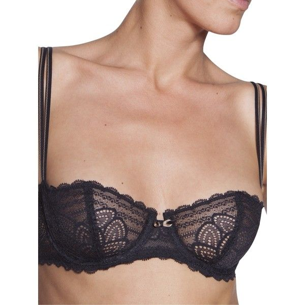 Chantelle Merci Half Cup Bra , Black (£47) ❤ liked on Polyvore featuring intimates, bras, black, see through lingerie, sheer lingerie, transparent bra, transparent lingerie and sheer bra
