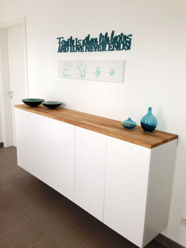 Shoe cabinet from Ikea Kitchen Cabinets method simply converted and refined with wood countertop