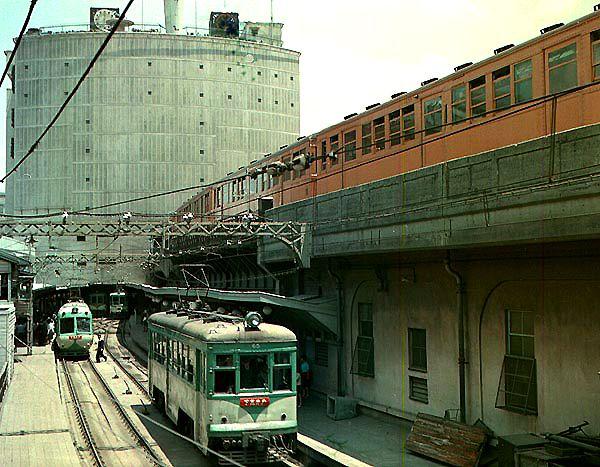 渋谷駅 銀座線(右上)と玉電