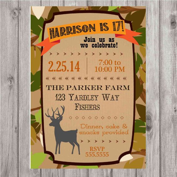 17 Best images about 1st Birthday Party Kyler – Hunting Party Invitations