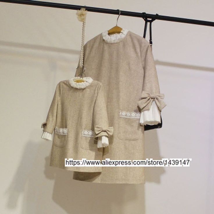 Spring Autumn child kid clothing Family Bottoming clothes Light beige dress for Mom girls Lady Woman cuff big Bow butterfly Knot