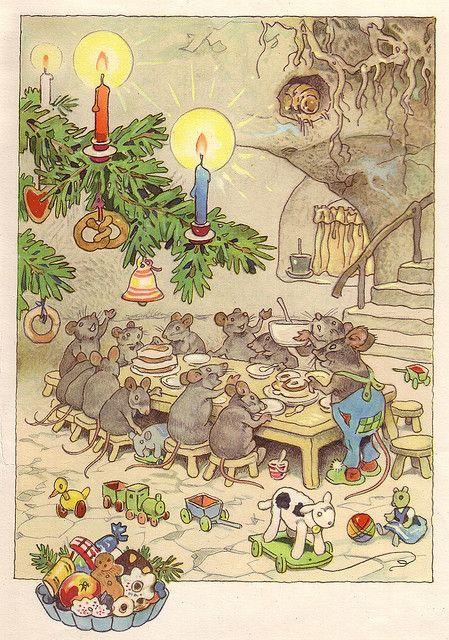 """""""Dezember"""", Friedrich Karl Baumgarten, deutscher Kinder-/Bilderbuchillustrator, Lithograf und Zeichner (* 18. August 1883 in Reudnitz; † 3. November 1966 in Leipzig)"""