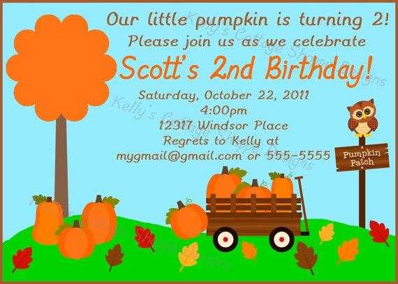Pumpkin Patch Birthday Invitation Custom by KellysCottageShoppe, $9.50