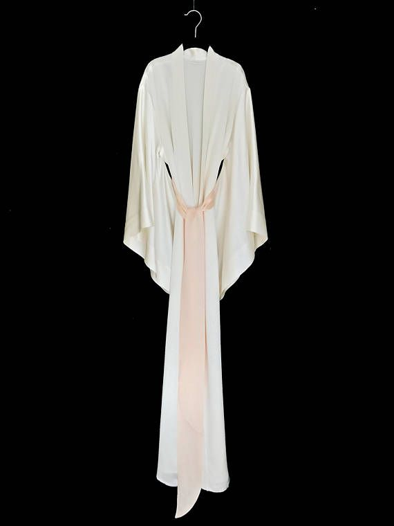 Kimono de seda largo maxi Kimono chaqueta, bata de seda, en un crepe de seda puro peso pesado, bata de seda de las novias