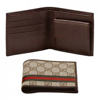 Gucci Wallet Signature Web Brown