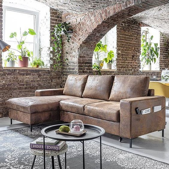Canape D Angle Convertible L Vintage Lilly Bobochic Canape Angle Style Loft Appartement Industrielle