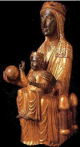 Virgen de Montserrat, late 12th century, romanesque sculpture in wood, Catalonia's patron saint, Spain.